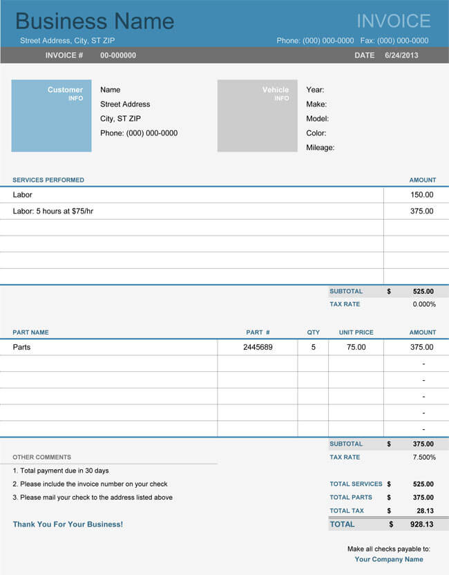 Auto Repair Invoice Templates for excel