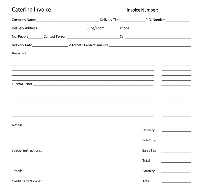 Catering Order Form Template Free  Order Forms Templates Free