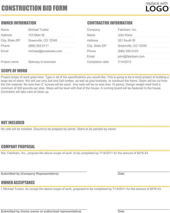 Construction Bid Form Template Excel