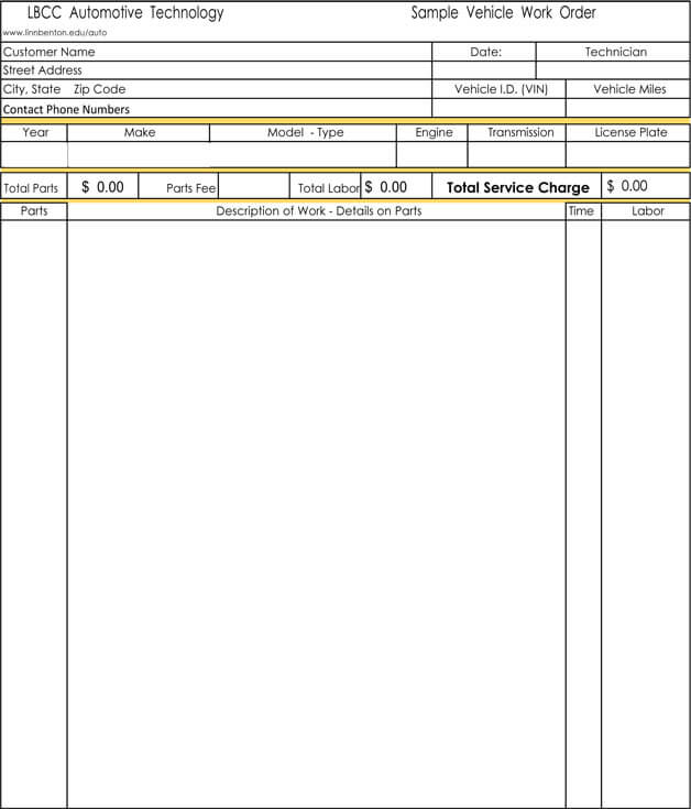 Car Repair Invoice Template Free RicDesign Auto Repair Invoice - Fillable auto repair invoice