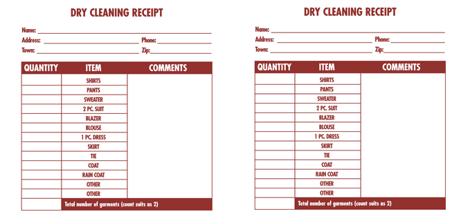Dry Cleaning Services Invoice Pdf