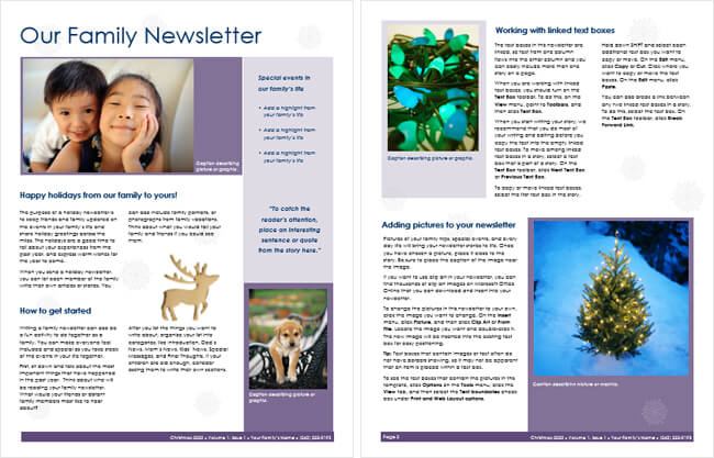 free family newsletter templates for word