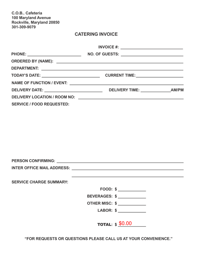 Free Catering Invoice Templates in PDF and Excel