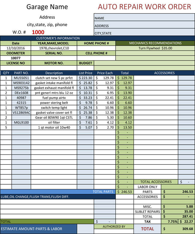 Auto Repair Invoice Templates   Printable And Fillable Formats