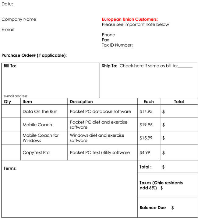 Free Printable Invoices