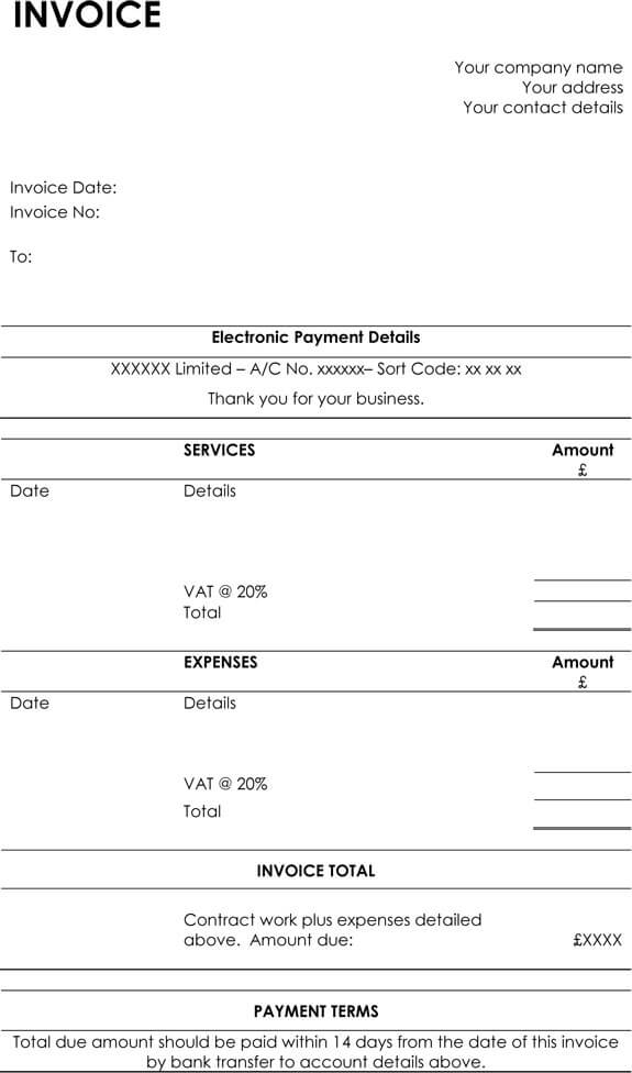 Hourly Invoice Templates WOrd