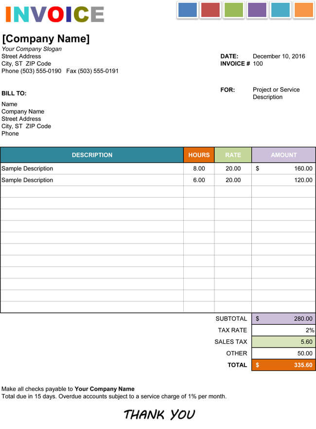 Hourly Service Invoice Templates for Excel