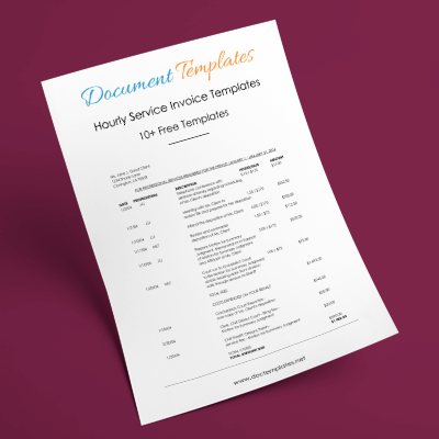 Hourly Service Invoice Templates in Excel, Word and PDF