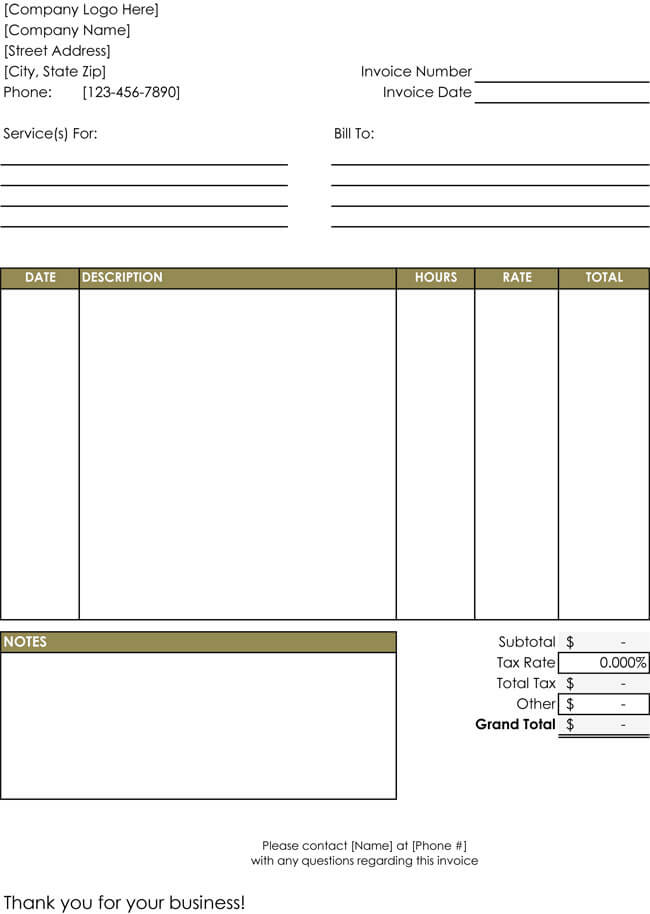 hourly service invoice templates free download