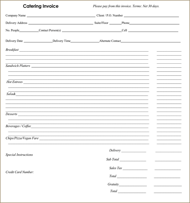 Invoice templates for catering business