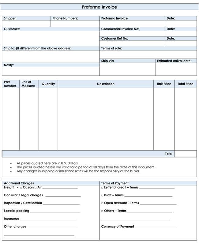 Proforma-Invoice-Templates-Editable and Printable