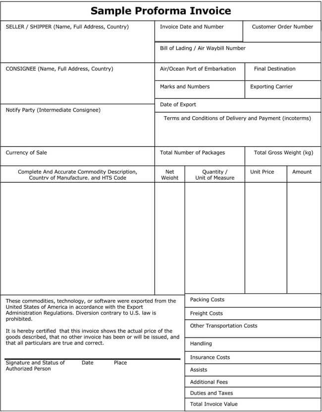 Sample Proforma Invoice PDF