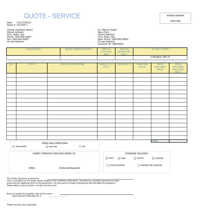 service quotation templates word