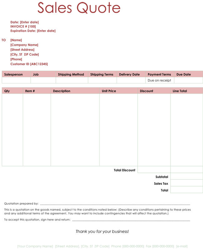 Service Quotation Templates Excel