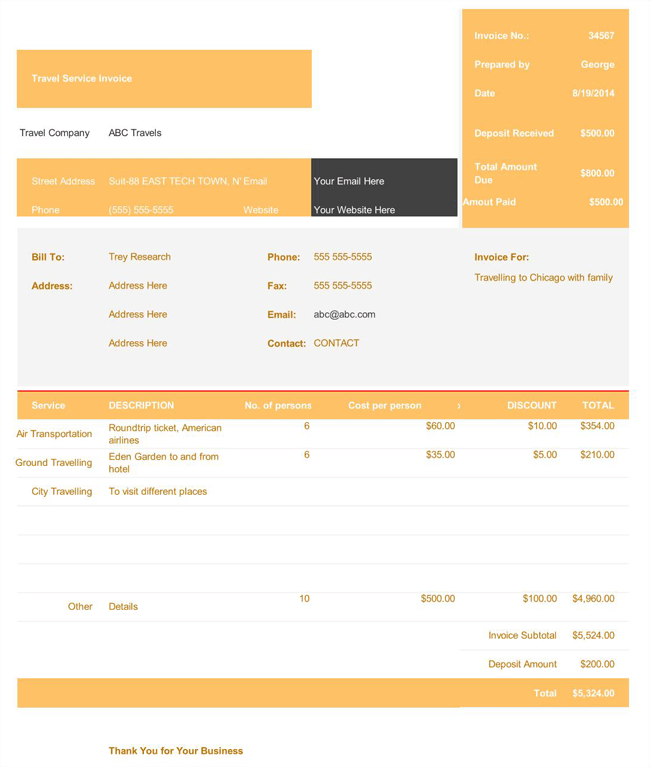 5+ Travel and Expense Invoice Templates for Travel Agencies
