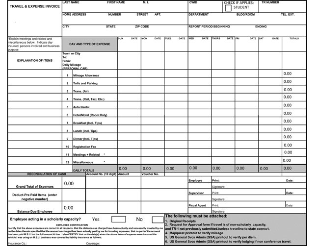 Travel and Expense Invoice Templates PDF