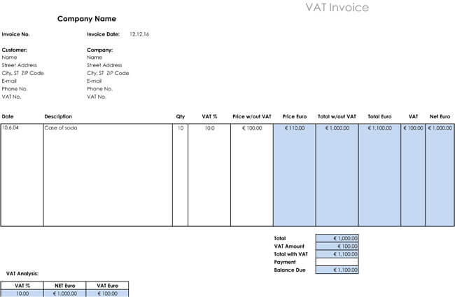 VAT invoice template for Excel