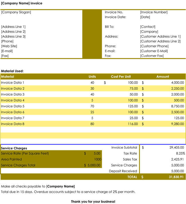 free printable invoice templates for excel