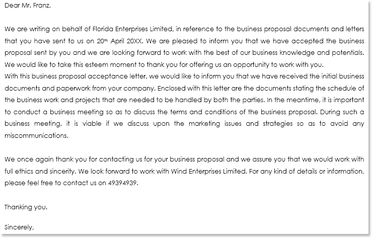Business Proposal Letter Sample 04