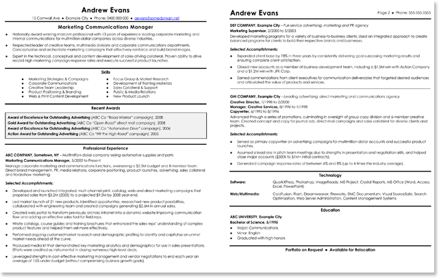 CV and Resume Templates for Marketing Jobs