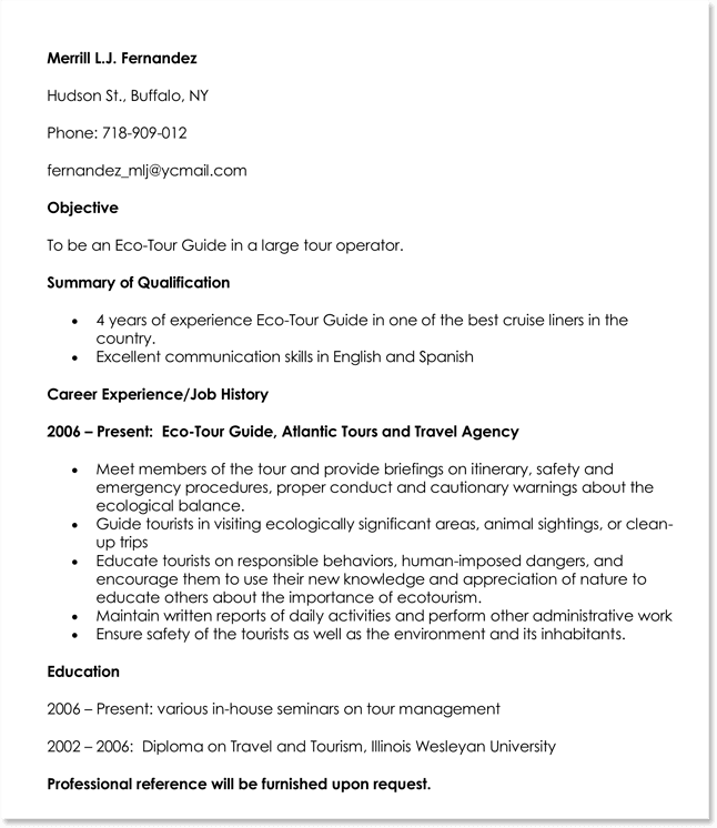 Eco-Tour Guide Resume Example