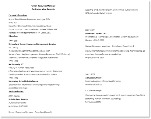 Example of Science Expert Resume