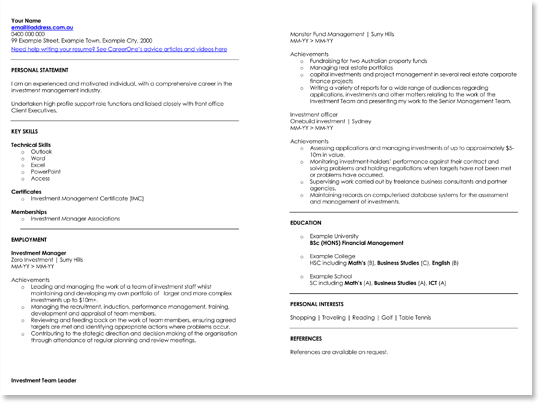 Finance Investment Manager CV Sample