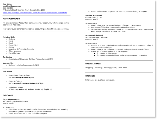 Financial Accountant CV Example