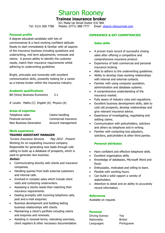 Insurance CV Template for Trainee Broker