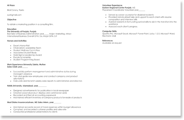 Marketing CV Sample
