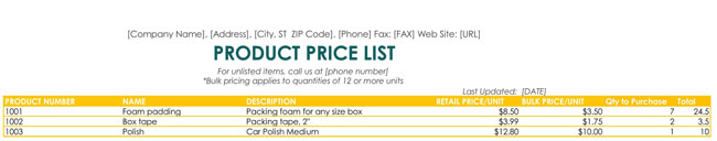 Price List Template for Excel
