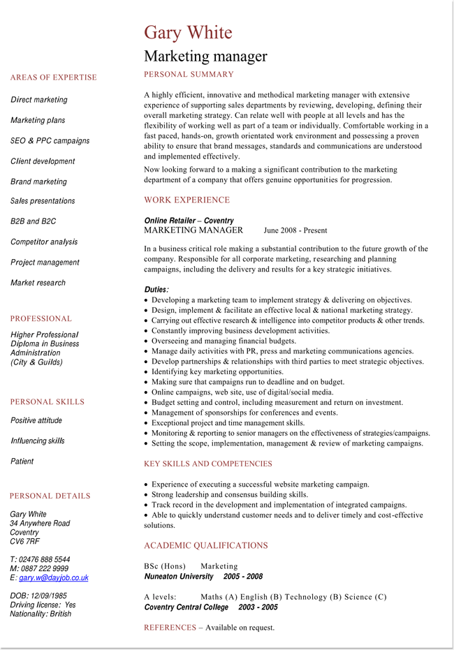 Resume Example for Marketing Manager