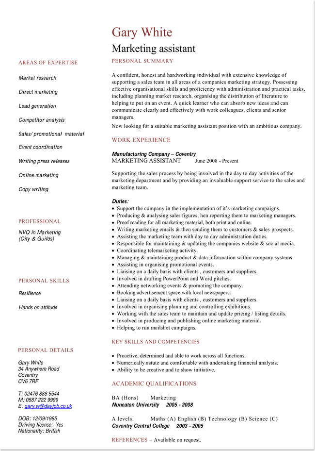 Resume Template for Marketing Assistant