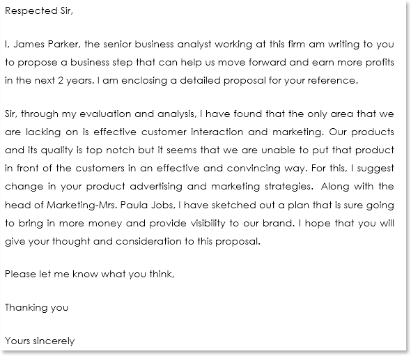Business Proposal Cover Letter Sample 03