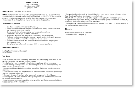 Tour Guide Resume Sample