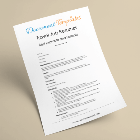 Travel Job Resume Templates – 7 Samples for Travel Related Job CV