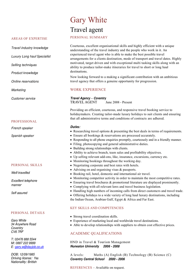 travel job resume template