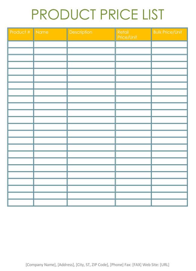 Wholesale Price List Template