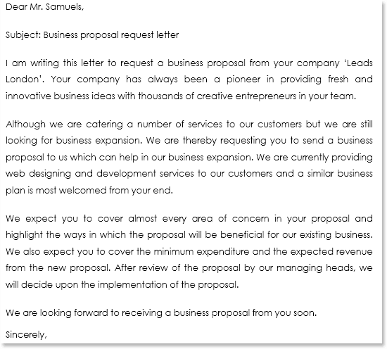business purchase proposal letter