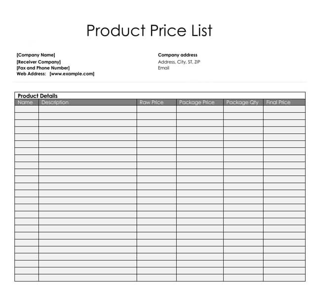 product price list template free download