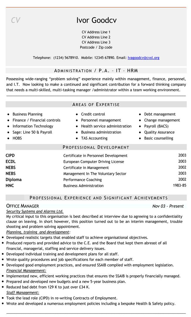 Administrative-Job-CV Format