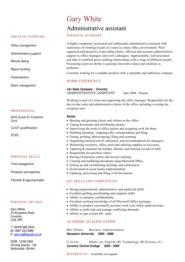 4 best cv examples for administrative job