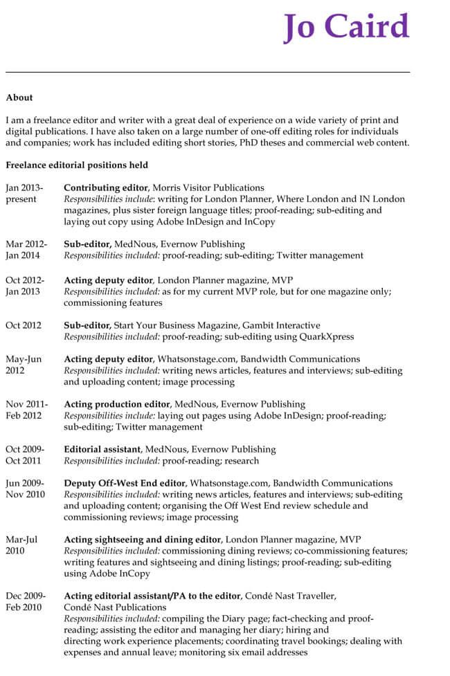 CV Format for Editor Job