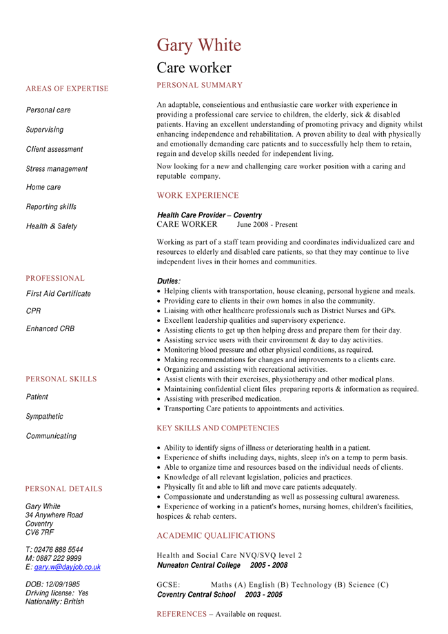care worker resume samples  u0026 healthcare assistant cv samples