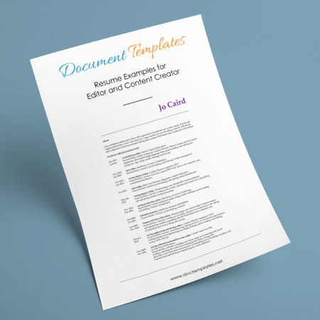 Resume Examples for Editor and Content Creator – 4 Editable Samples