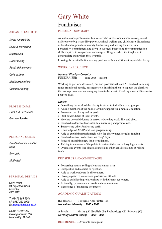 Fundraiser and Charity Expert CV Templates