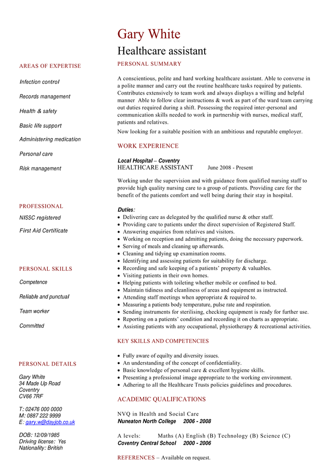 Healthcare Assistant CV Template