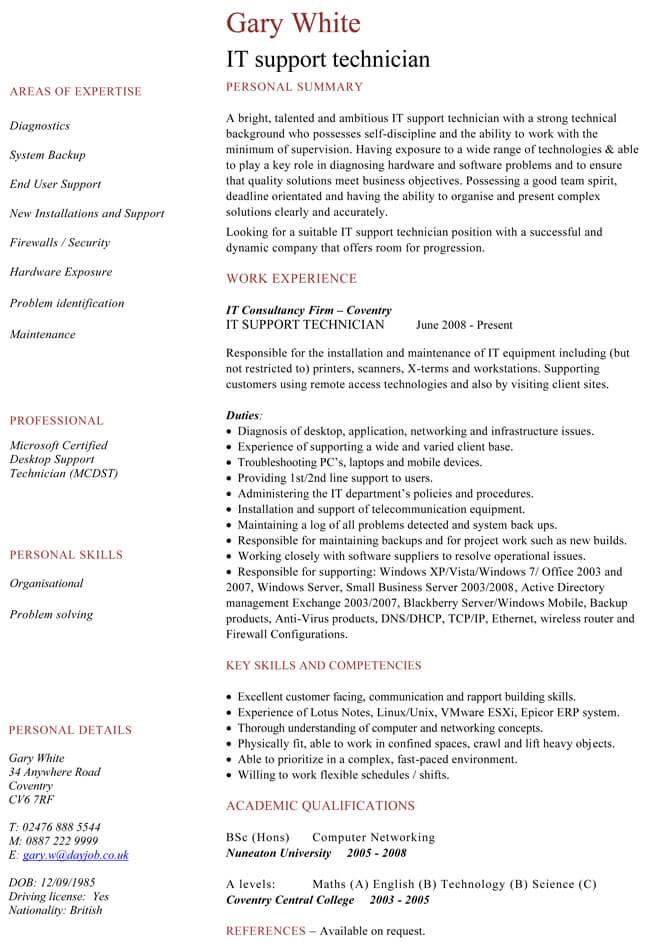 IT Support Technician CV Sample