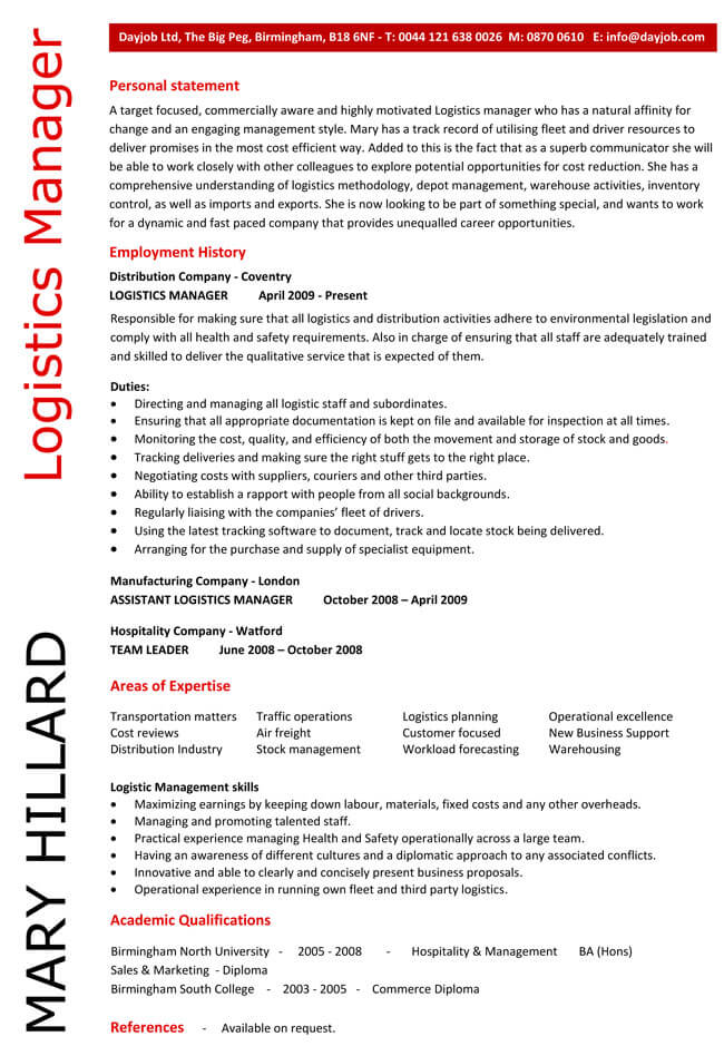 Logistics Manager CV Examples