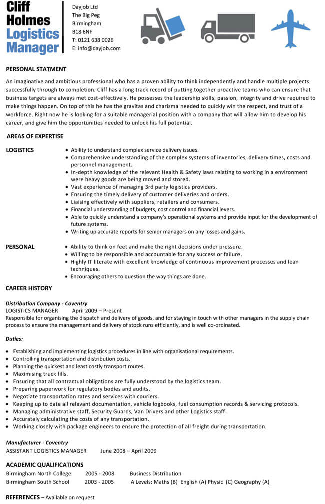 Logistics Manager CV Template